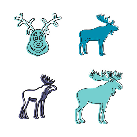 Deer icon set, color outline style