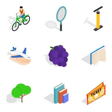 Service life icons set, isometric style