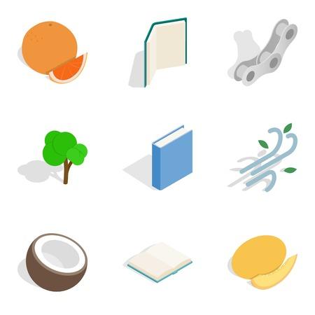 Food care icons set, isometric style