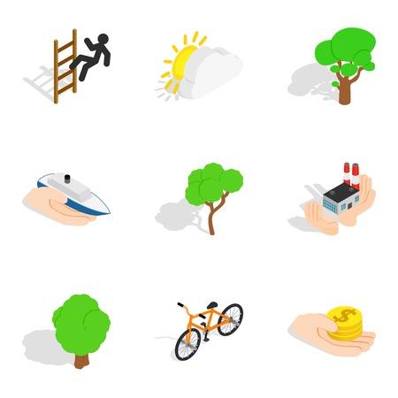 Renewal icons set, isometric style