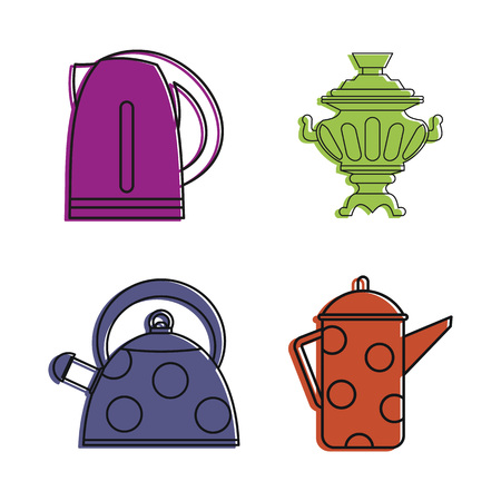 Kettle icon set, color outline style Stock Photo
