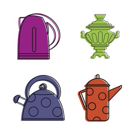 Kettle icon set, color outline style Banco de Imagens