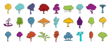 Tree icon set. Color outline set of tree icons for web design isolated on white background
