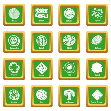 Slice food icons set green square isolated on white background Zdjęcie Seryjne