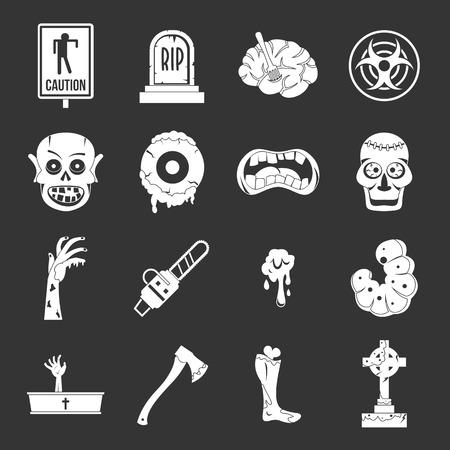 Zombie icons set white isolated on grey background Stock Photo