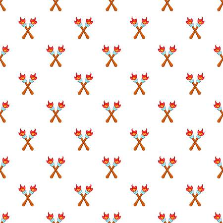 Two torches pattern, cartoon style