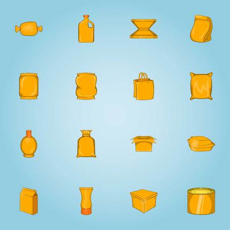 Packaging icons set, cartoon style Stock Photo