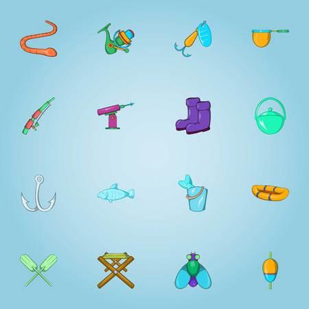 Fishing icons set, cartoon style Stock Photo