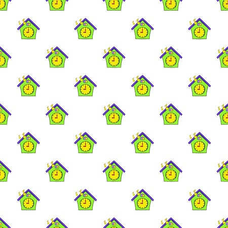 Cuckoo clock pattern. Cartoon illustration of cuckoo clock pattern for web