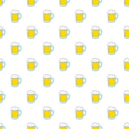 Glass of beer pattern. Cartoon illustration of glass of beer pattern for web