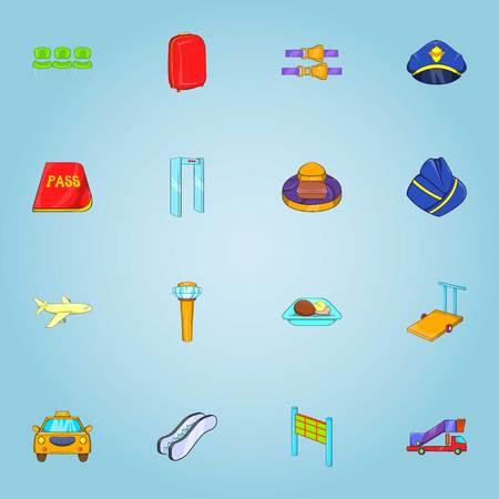 Flights icons set, cartoon style
