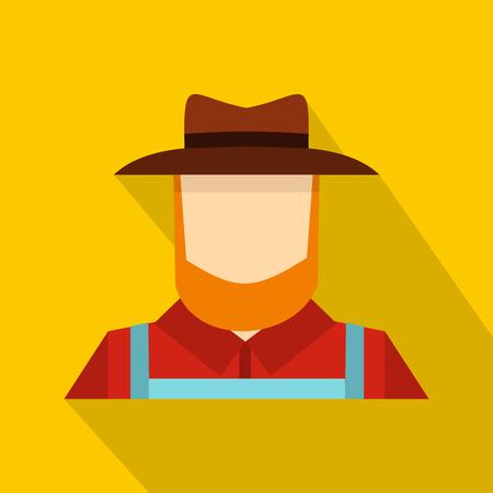 Farmer icon, flat style Stock Photo