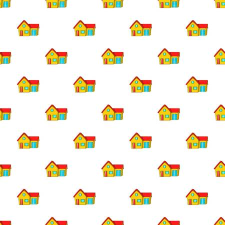House with garage pattern, cartoon style Stock Photo