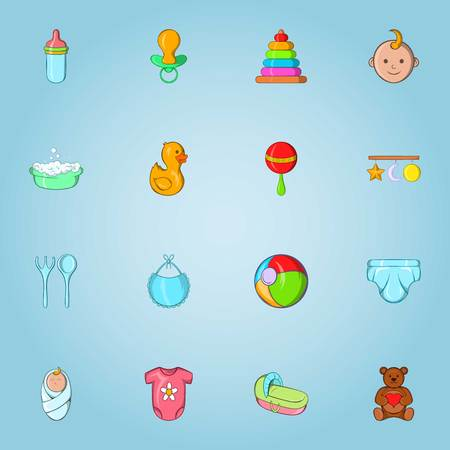 Baby care icons set, cartoon style