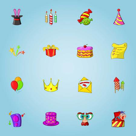 Birthday party icons set, cartoon style Stock Photo