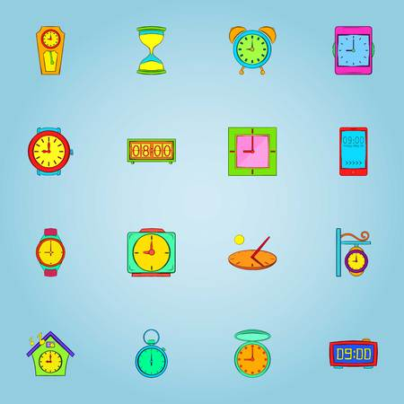 Clock icons set, cartoon style