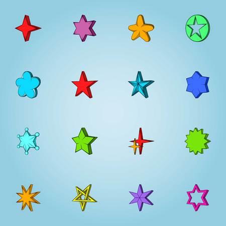 Star icons set, cartoon style Stock Photo