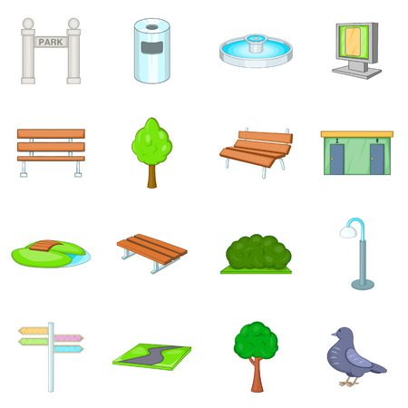 Park icons set. Cartoon illustration of 16 park icons for web