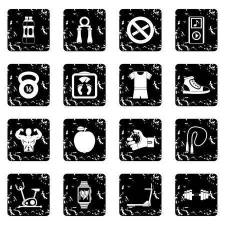 Sport icons set. Grunge illustration of 16 sport icons for web