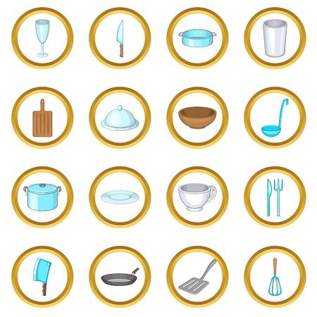 Basic dishes set in cartoon style isolated on white background