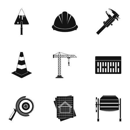Construction icons set. Simple illustration of 9 construction icons for web 写真素材