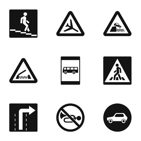 Road sign icons set. Simple illustration of 9 road sign icons for web Archivio Fotografico - 107176075