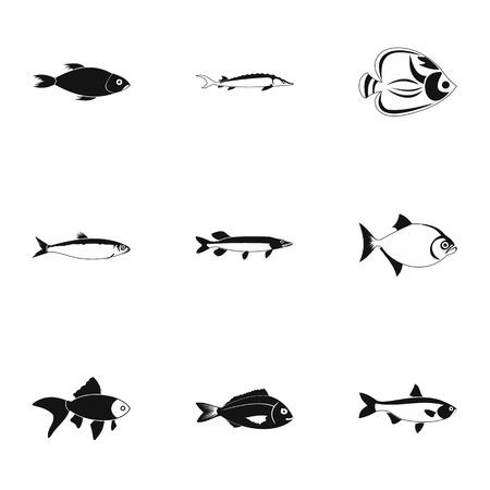 Species of fish icons set, simple style Zdjęcie Seryjne