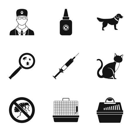 Veterinarian icons set, simple style Stock Photo
