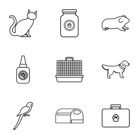 Veterinary icons set, outline style