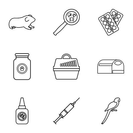 Veterinarian icons set, outline style