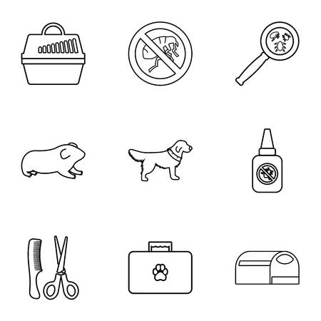 Veterinary things icons set, outline style