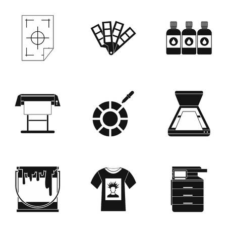 Printing services icons set, simple style