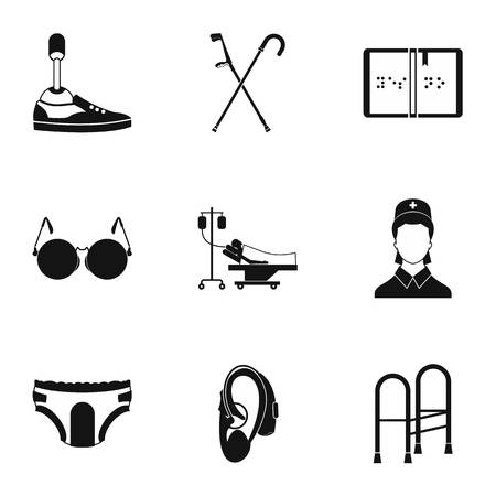 Assistance for disabled icons set, simple style Reklamní fotografie