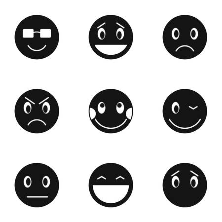 Round smileys icons set, simple style Banco de Imagens