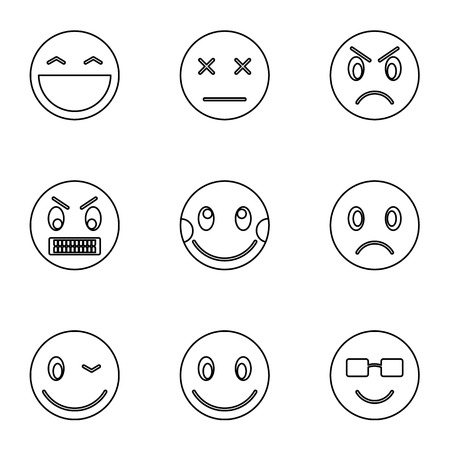 Round smileys icons set, outline style