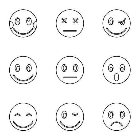 Emoticons for messages icons set. Outline illustration of 9 emoticons for messages icons for web