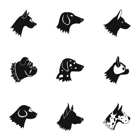 Pet dog icons set, simple style