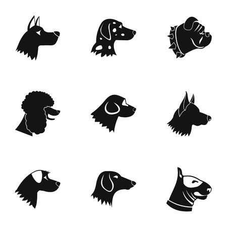 Faithful friend dog icons set, simple style