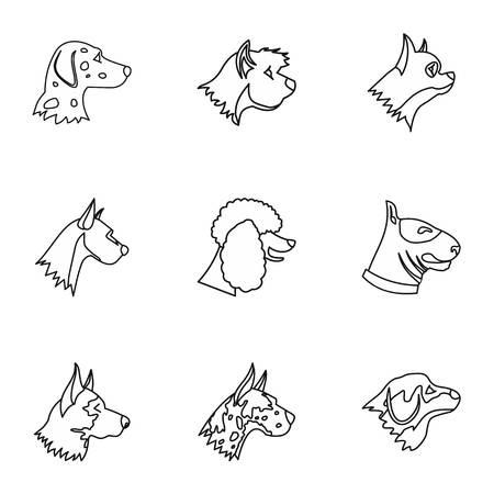 Dog icons set, outline style Stock Photo