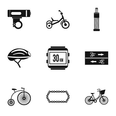 Cycling icons set, simple style Standard-Bild