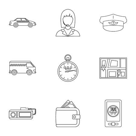 Call taxi icons set, outline style