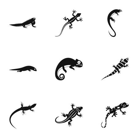 Lizard icons set, simple style Stock Photo