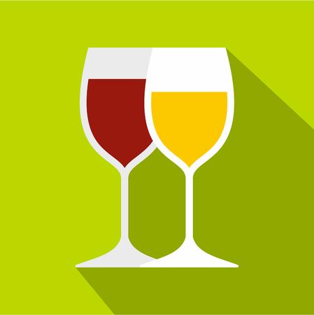 Wine glasses icon, flat style