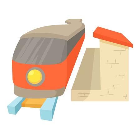 Train icon. Cartoon illustration of train icon for web
