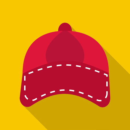 Red cap icon. Flat illustration of red cap icon for web Stok Fotoğraf