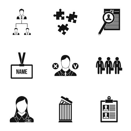 Staffing agency icons set, simple style
