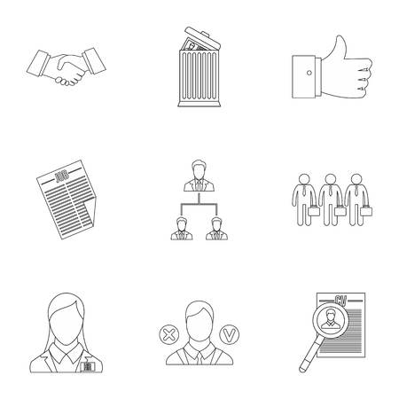 Staffing agency icons set, outline style Stock Photo