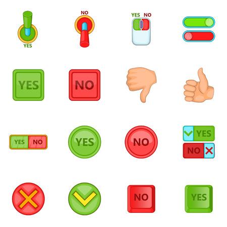 Yes no icons set. Cartoon illustration of 16 yes no icons for web Stock Photo