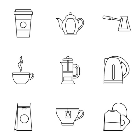 Drink icons set. Outline illustration of 9 drink icons for web