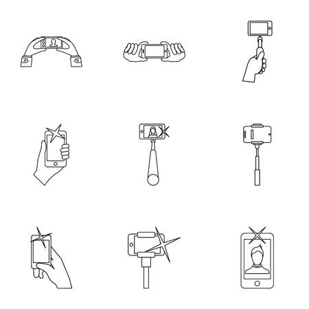 Photo on mobile phone icons set, outline style